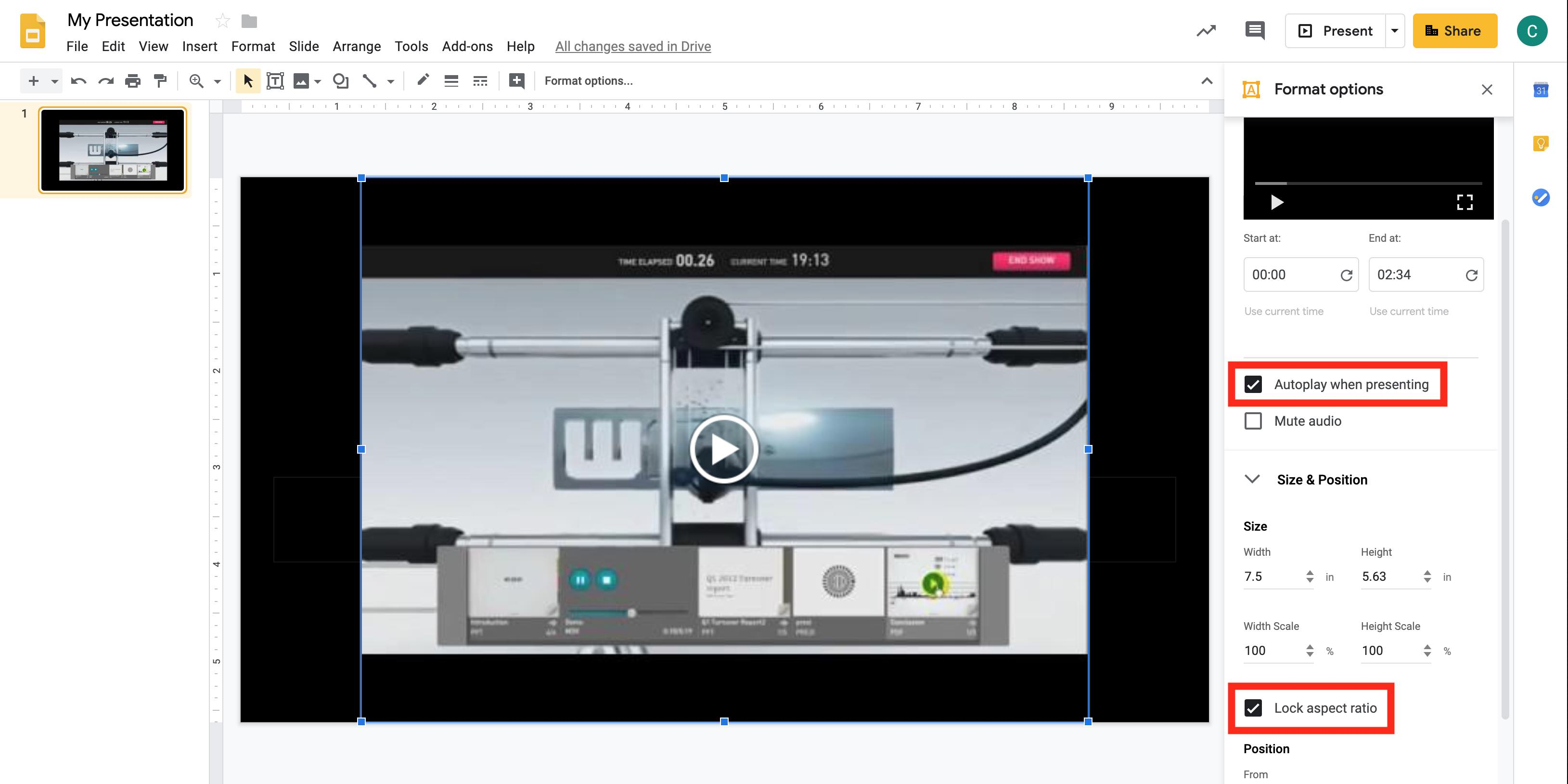 Screenshot of embedding and inserting videos in Google Slides
