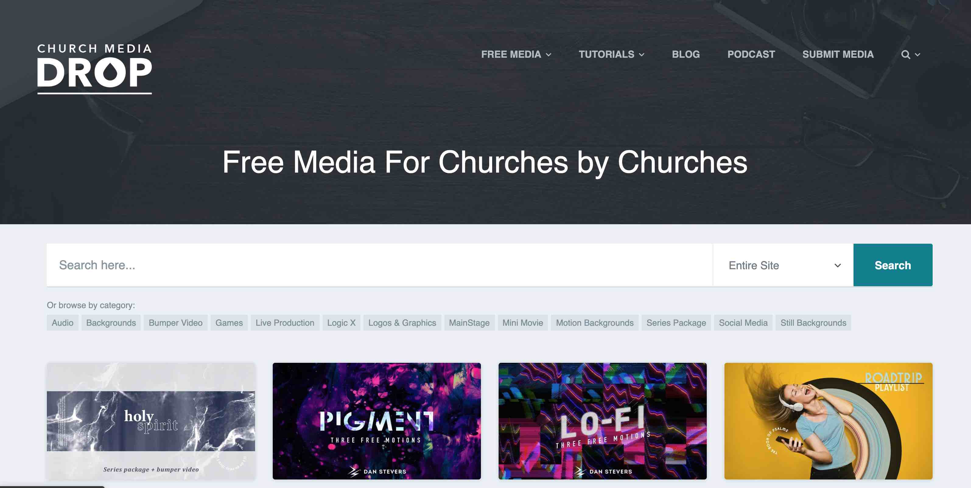 Church Media Drop free media for churches including motion backgrounds