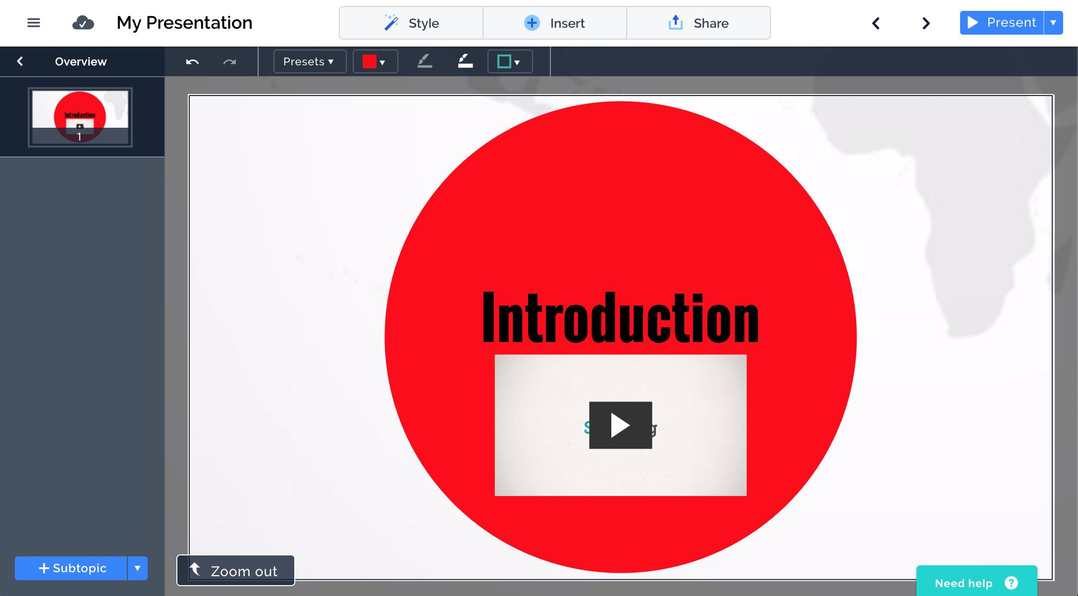 Screenshot of embedding videos in Prezi