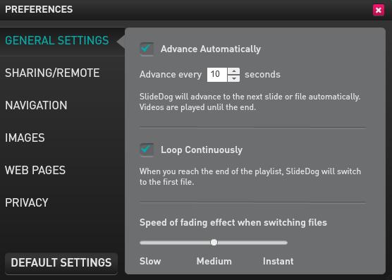 SlideDog Preferences