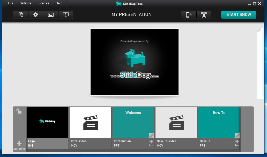 SlideDog presentation playlist with video and PowerPoint